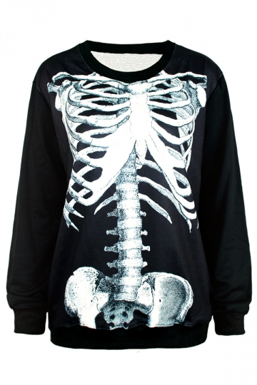 Black Long Sleeves Ladies 3D Skeleton Printed Sweatshirt