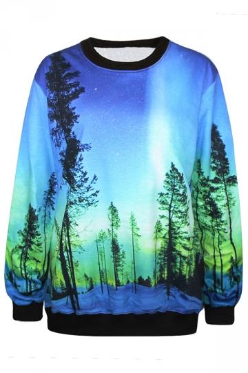 Blue Fancy 3D Galaxy Womens Long Sleeves Sweatshirt