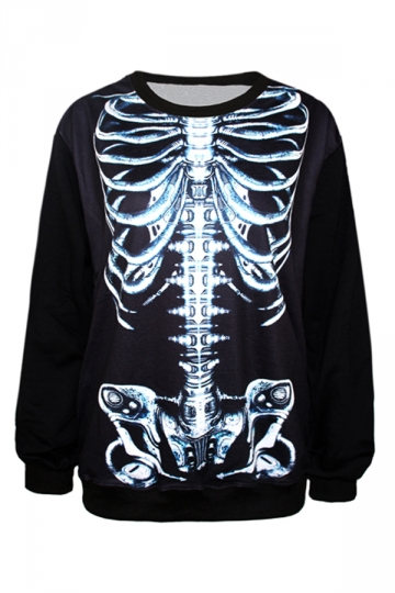 Black Womens Skeleton 3D Printed Long Sleeves Sweatshirt
