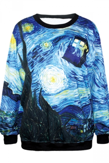 Blue Elegant Ladies Starry Night Printed Sweatshirt