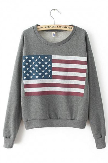 Stunning Ladies Long Sleeves American Flag Printed Sweatshirt