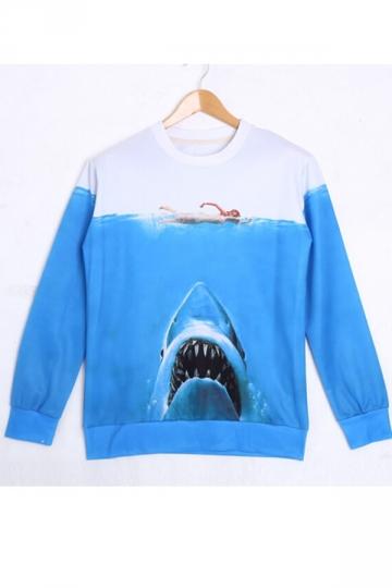 Blue Ladies Shark Printed Long Sleeves 3D Pullover Sweatshirt