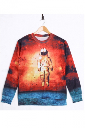 Red Cool Long Sleeves Ladies Astronaut Printed Sweatshirt