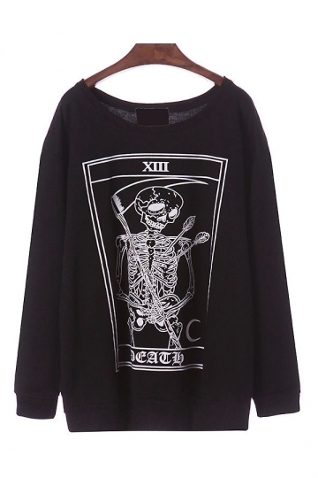 Black Stylish Ladies Crew Neck Skeleton Printed Sweatshirt