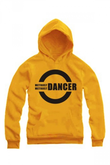 Delicate Ladies Long Sleeves Pullover Dancer Letters Printed Hoody