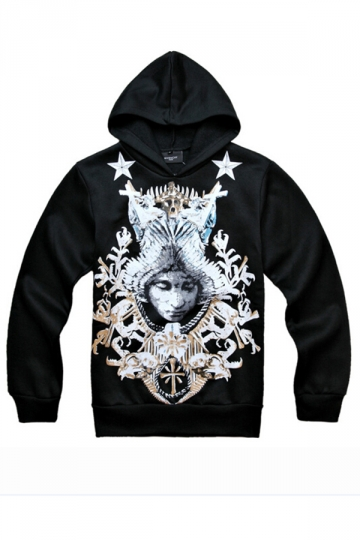 Black Pretty Womens Long Sleeves Pullover Goddess Totem Printed Hoody