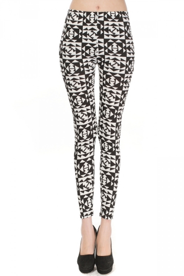 Black and White Charming Womens Triangle Plaid Slimming Leggings