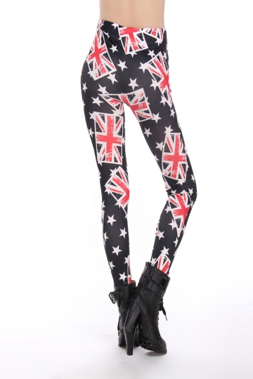 Black Ladies British Flag Printed Cool Leggings