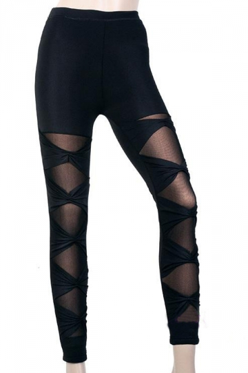 Black Unique Ladies Fishnet Tight Bandage Leggings