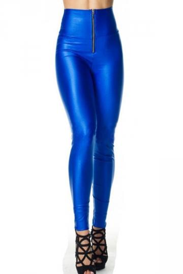 Fashion Womens Neon High Waist Zipper Tight Liquid Leggings