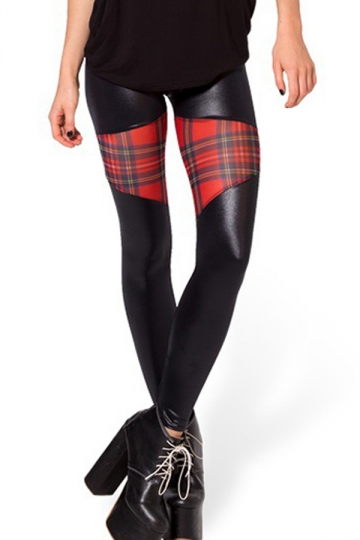 Black Stylish Womens Plaid Patchwork Stretch Leather Leggings