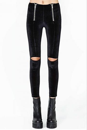 Black Cut Out Womens Zipper Velvet Ripped Leggings