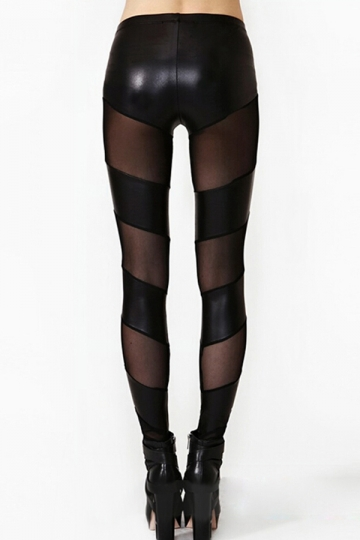 Black Sheer Patchwork Womens Unique Leggings