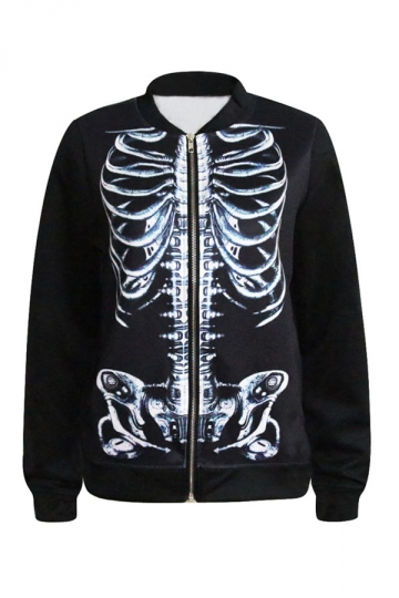 Black Casual Ladies Skeleton Printed Jacket