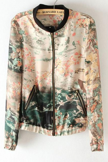 Multicolour Chic Ladies Long Sleeves Landscape Painting Print Jacket