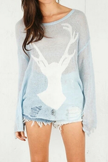 Blue Vintage Womens Ragged Deer Head Patterned Pullover Sweater