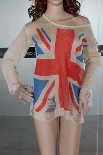 Personalized Ladies Ripped British Flag Patterned Pullover Sweater