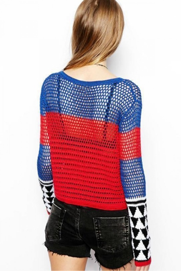 Red Sexy  Cut Out Fishnet Geometrical Patterned Pullover