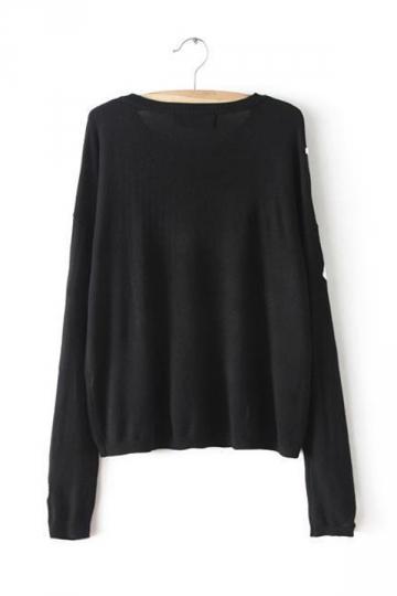 Black Cool Ladies Skeleton Printed Long Sleeve Patterned Pullover