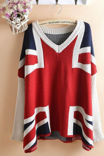 Red Union Flag Printed Retro Loose Womens Pullover