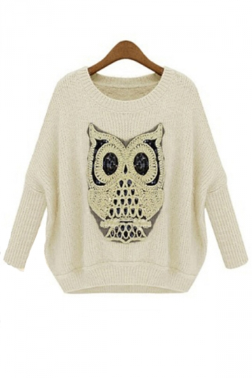 Cool Ladies Crew Neck Batwing Sleeve Owl Patterned Pullover