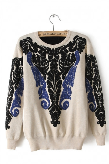 Cool Womens Crew Neck Baroque Totem Patterned Pullover