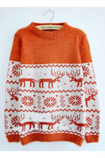 Trendy Womens Color Block Reindeer Pattern Christmas Sweater
