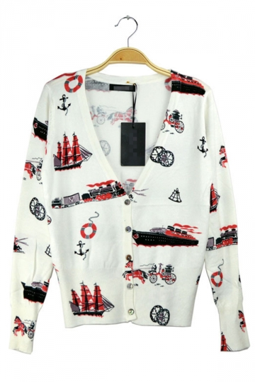 White Ladies Cute Age Of Steam Unique Patterned Cardigan - PINK QUEEN