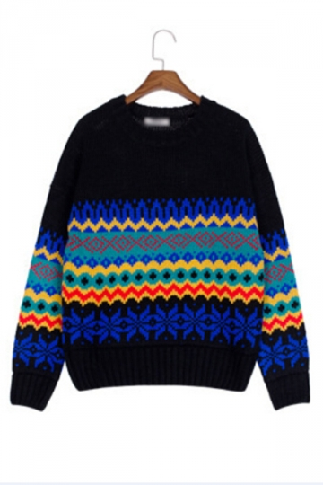 Vintage Womens Colorful Geometric Patterned Pullover Sweater