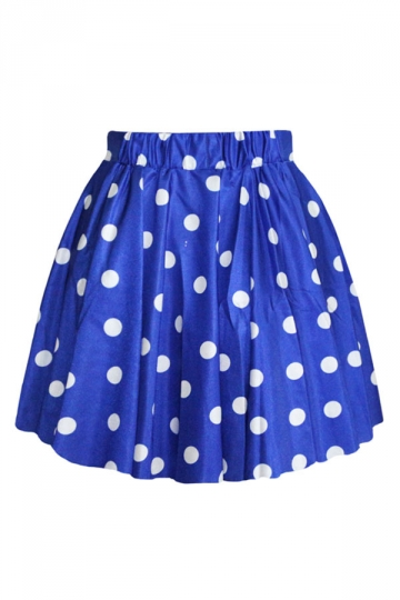 Blue Pretty Womens Polka Dot Pleated Skirt