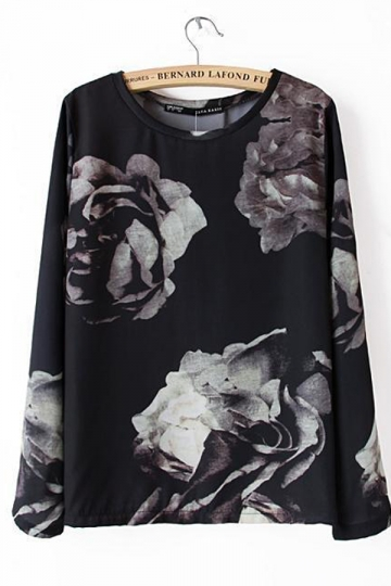 Black Womens Casual Vintage Flower Printed T-shirt