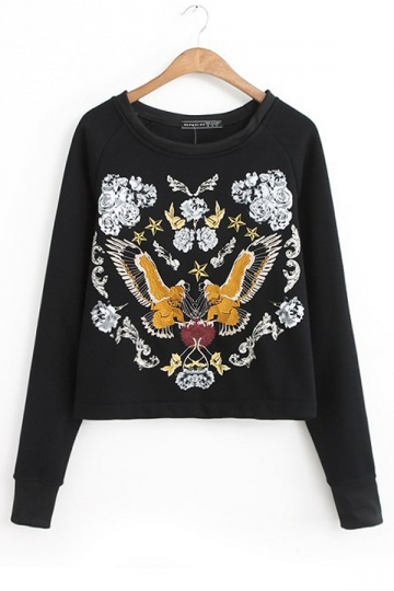Black Retro Ladies Long Sleeve Fly Birds Embroidered Crop Top