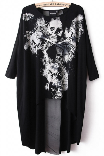 Black Ladies Unique Skull Printed High Low Loose T Shirt