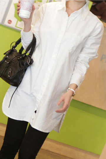 White Long Sleeves Lapel Loose Ladies Blouse