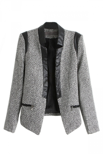 Gray Fashion Womens Long Sleeves Leather Patchwork Wool Blazer
