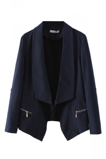 Navy Blue Long Sleeves Lapel Classic Slim Ladies Blazer