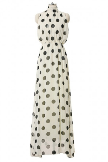 White Ladies Cute Sleeveless Polka Dot Halter Bohemia Maxi Dress