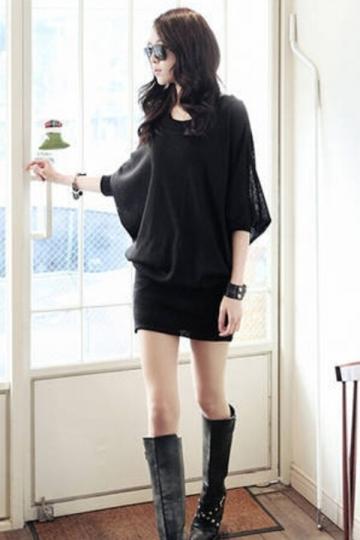 Black Sexy Ladies Batwing Sleeves Punk Clubwear Dress