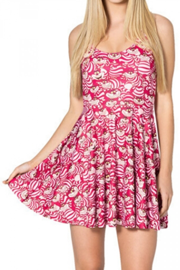 Rose Red Cute Womens Strap Apron Civet Cat Printed Skater Dress