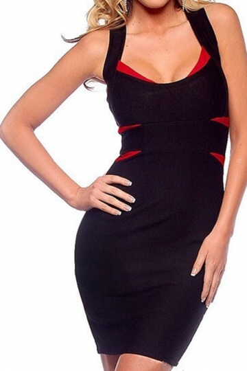 Black Plain Strap Color Black Patchwork Bodycon Dress