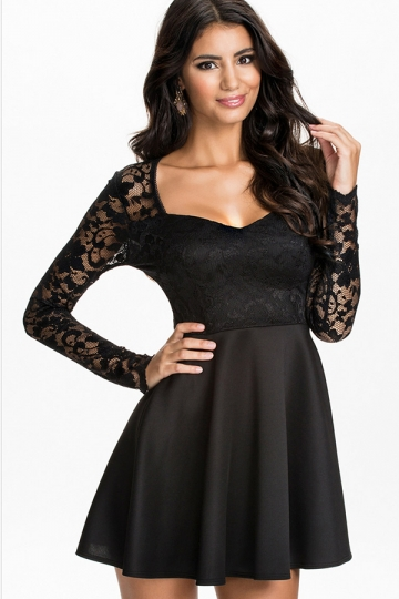 Black Sexy Ladies Long Sleeve Ruffle Lace Plain Skater Dress