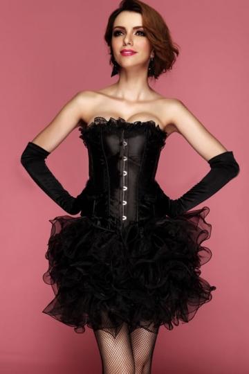 Black Comfortable Ladies Lace Up Lingerie Plain Corset