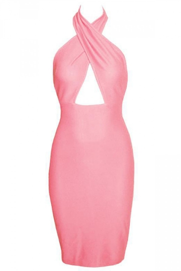 Pink Red Sleeveless Sexy Womens Wrap Halter Backless Elegant Dress