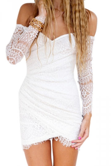 White Pretty Ladies Long Sleeve Off Shoulder Lace Clubwear Dress