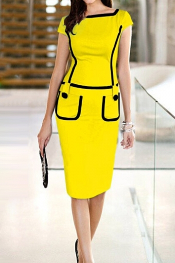 Yellow Plain Zipper Patchwork Womens Sexy Chic Midi Dress