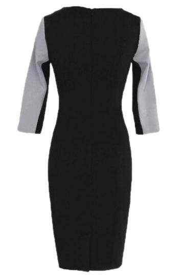 Gray Zipper Womens Sexy Color Block Half Sleeves Unique Midi Dress