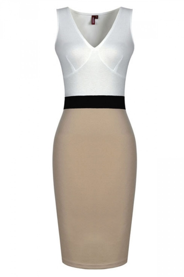 Beige Womens Elegant Sleeveless V Neck Patchwork Midi Dress