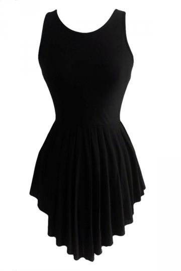 Black Elegant Ladies High Low Ruffle Sleeveless Skater Dress