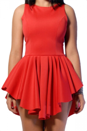 Red Elegant Ladies High Low Ruffle Sleeveless Skater Dress