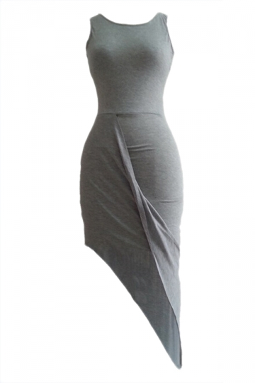 Gray Elegant Ladies Irregular Hem Sleeveless Tank Dress